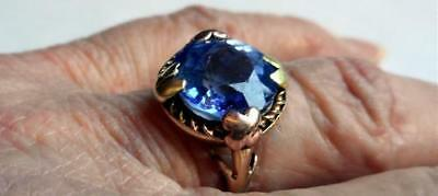 Beautiful Antique Vintage Yellow & Rose 10k Gold Ring Blue Faceted Glass Stone