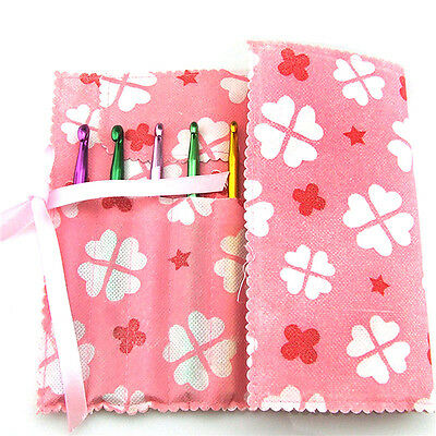 Pink Knitting Needle Crochet Hook Organizer Bag Pouch Holder Storage Case Box s