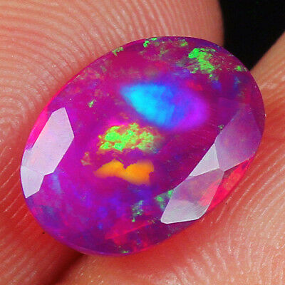 1CT Ethiopian Purple Opal Faceted Cut Play Of Color MQOZ64