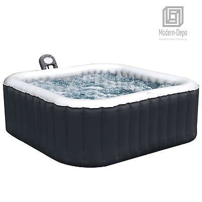 Mspa Inflatable Hot Tub 4-Person Outdoor Jets Portable Heated Bubble Massage Spa