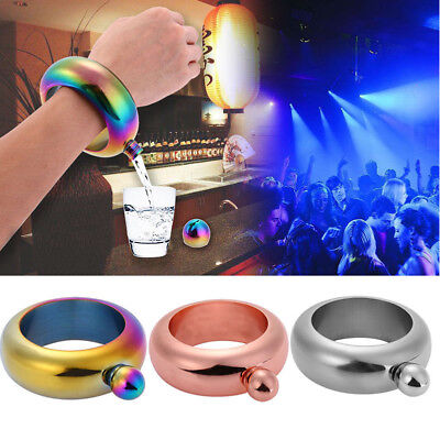 3.5oz Portable Stainless Steel Hip Flask Holder Alcohol Drink Bangle Bracelet