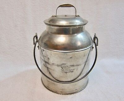 Vintage Stainless Steel 4 Qt Cream Can With Wire Handle & Lid Heavy Metal