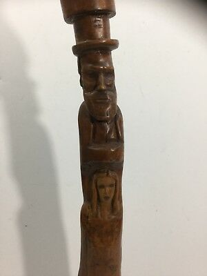 South Carolina Folk Art Carving Totem Pole African American Man Lincoln & Woman