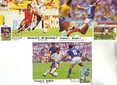 Bequia - World Cup Football, Mexico, Various (3no. Maxicards) 1986