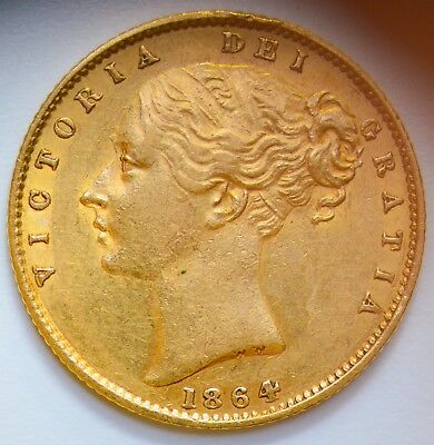 LUSTROUS 1864 Victoria Gold Shield Sovereign (Die Number 75) - GREAT DETAIL!