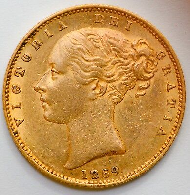 LUSTROUS 1869 Victoria Gold Shield Sovereign (Die Number 64) - GREAT DETAIL!