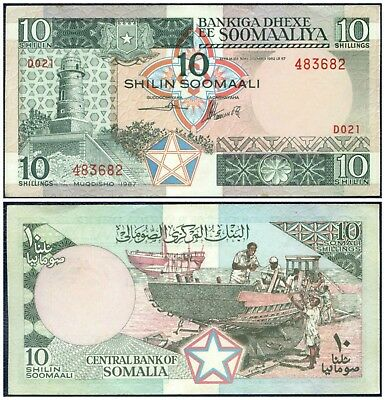 1987 CENTRAL BANK OF SOMALIA : 10 SHILLINGS ~ Boat Building