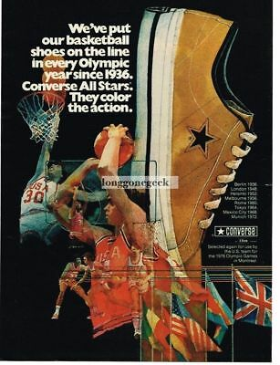 1975 Converse All Stars Olympics Basketball Sneakers Since 1936 art Vtg Print Ad