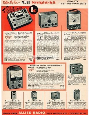 1958 Allied Knight-Kit Tube Tester Signal generator DIY Kit  Vtg Print Ad