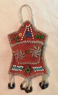 ANTIQUE c1900 IROQUOIS NATIVE AMERICAN INDIAN BEADED WHIMSEY Wall pocket