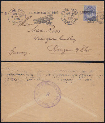 SOUTH AFRICA 1925 mail KGV machine cancel AIR-MAIL CAPE TOWN LUGPOS KAAPSTAD RR