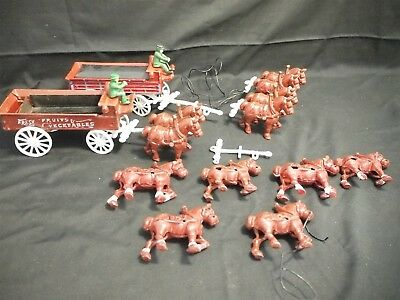 Vintage Cast Iron Painted Toy Horse + Wagon Sets. Fruit n Veg Cart 12 Horses