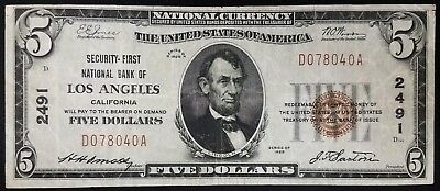 1929 $5.00 National Currency, Security-First National Bank of Los Angeles, CA