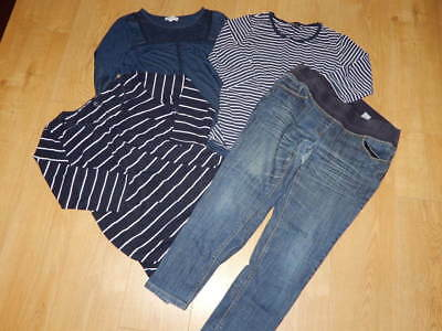 MATERNITY Bundle ~ Size 14 ~ NEXT Under Bump JEANS & 3x NAVY TOPS Next + H&M