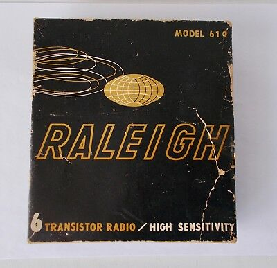 1964 Raleigh TRANSISTOR RADIO #619 in Box w/ Earphones, Case, Battery & Warranty