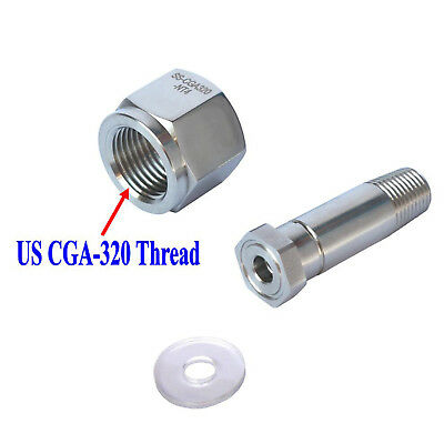 New Stainless Steel CGA 320 CO2  Regulator Inlet Nut & Nipple with Washer