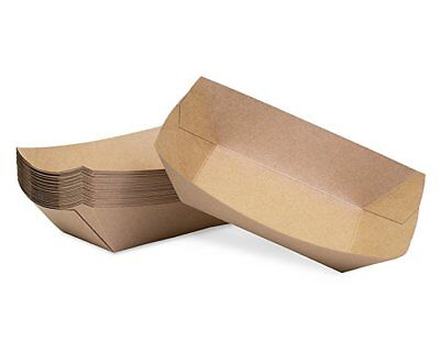50pc Brown Kraft Paper Disposable Serving Food Trays Restaurant Supplies