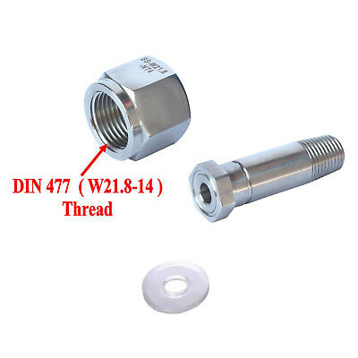 New Stainless Steel DIN 477/ W21.8 CO2 Regulator Inlet Nut & Nipple with Washer
