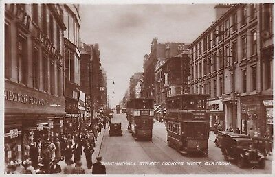 Glasgow - Sauchiehall St Looking West, Trams & Cars - Real Photo By Valentine's