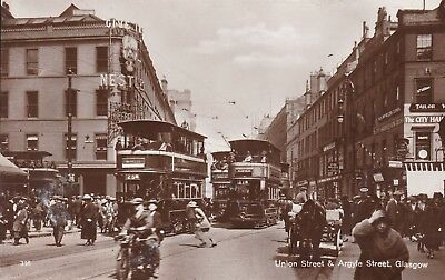 Glasgow - Union St & Argyle St - Real Photo With Trams