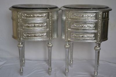Pair of silver nightstands  Baroque style VINTAGE FURNITURE