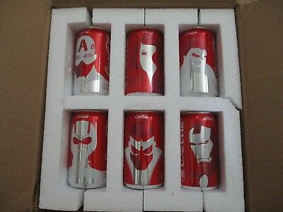 Mini Marvel Coca Cola Avengers Cans 6 Pack Set Limited Edition Coke Cans