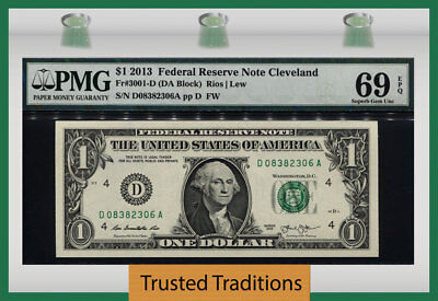 Tt Fr 3001-D 2013 $1 Federal Reserve Note Cleveland Pmg 69 Epq Impeccable Note!