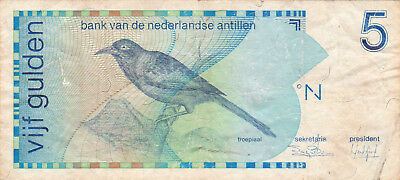 5 Gulden Fine Banknote From Netherlands Antilles/curacao 1986!pick-22