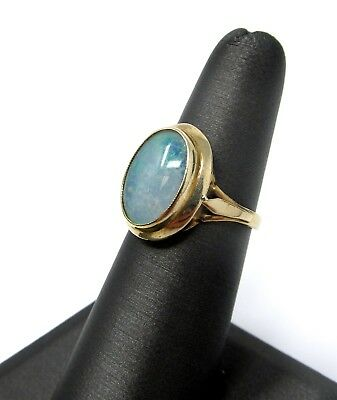 Vintage 10k Yellow Gold Opal Raised Cabochon Size 6 Ring 3.7g ASY3064