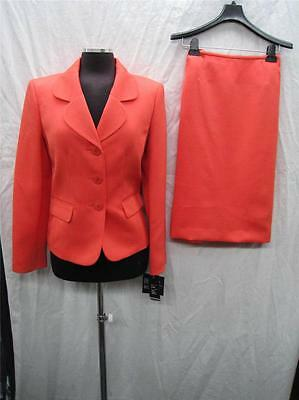 Lesuit Skirt Suit/nwt/fully Lined/size 18/orange/retail$200/skirt Length 25""