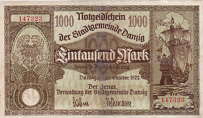 1000 Mark Fine Banknote From City State Of Danzig 1922!pick-15!rare