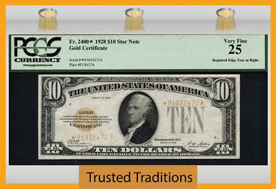 Tt Fr 2400* 1928 $10 Gold Certificate Star Note Gold Seal Pcgs 25 Very Fine!