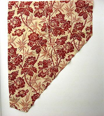 Antique Beautiful 19th C. French Floral Toile Cotton Print Fabric ( 9464)