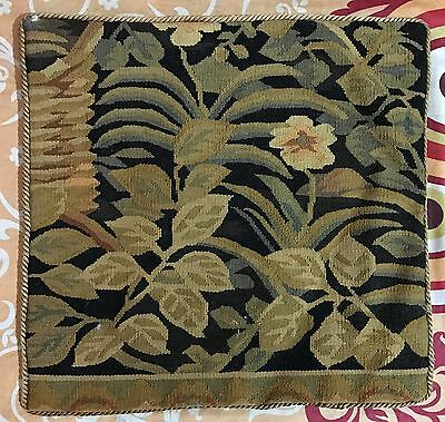 "ANTIQUE 19C AUBUSSON FRENCH HAND WOVEN TAPESTRY CUSHION 15"" By 15"""