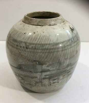Nice Early Antique Korean Decorated Glazed Stoneware Ginger Jar