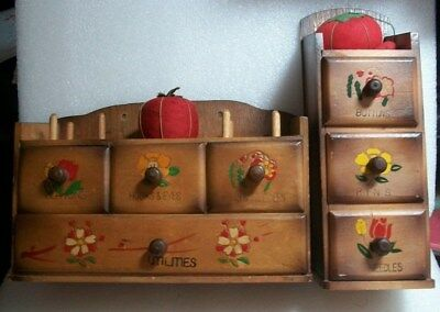 2 Japanese Antique Sewing Box  Boxes Labeled & Hand Painted Flowers on Drawers
