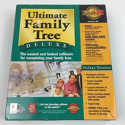 Ultimate Family Tree Deluxe Software Disc & Manual Windows 3.1 95