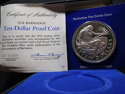 Q22 Barbados 1974 Franklin Mint Silver 10 Dollars Neptune Proof w/ BOX & COA