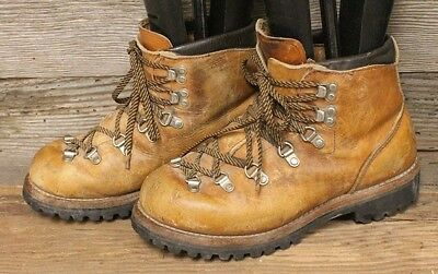 IRISH SETTER VINTAGE 1980s MENS BROWN LEATHER HIKING/MOUNTAINEERING BOOTS SZ 7M