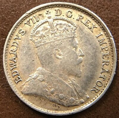 1908 Canadian 5-Cent Silver Piece Beautiful Original Condition!