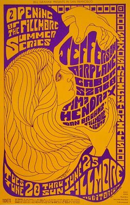 Jimi Hendrix POSTER Jefferson Airplane Gabor Szabo Fillmore 1967 BG69-2 Seeley
