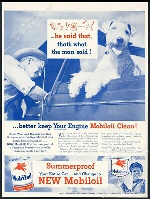 1946 cute swearing Airedale Terrier photo Mobil oil gas vintage print ad