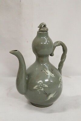 Old Korean Green Celadon Twisted Handled Gourd Cranes Storks Pottery Teapot Sign