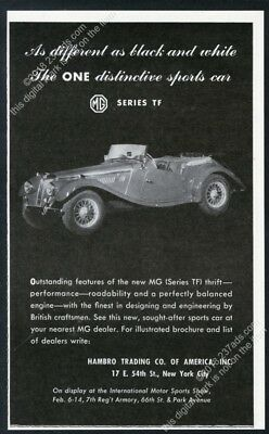 1954 MG Midget TF car photo vintage print ad