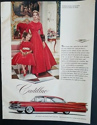 1959 red Cadillac Sedan DeVille car Scassi women's dresses gowns ad
