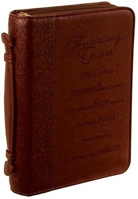Amazing Grace Leather Large Brown Bible Cover