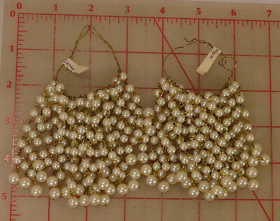 """48 vintage 3"""" necklace extenders plastic pearls gold chain made in Japan"""