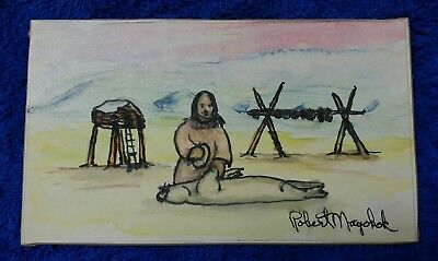 "Original Ink & Ink Wash Drawing by Inuit Artist Robert Mayokok 7 1/2"" x 4 3/8"""