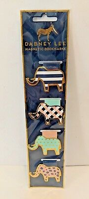 Dabney Lee Magnetic Bookmarks, Elephants, 4 count