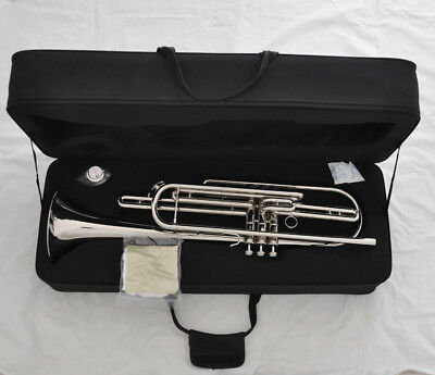 Professional 3 piston silver bass trumpet horn Bb key with case